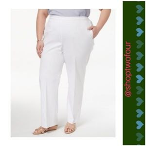 Alfred Dunner Pull on Pants White short petite